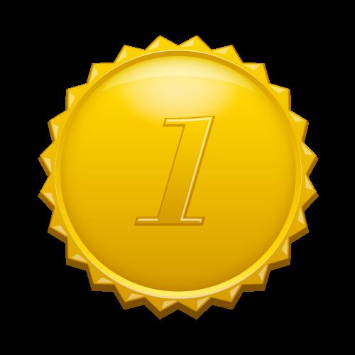 1の数字の入ったギザギザのゴールドカラーメダル(medalbadge).png