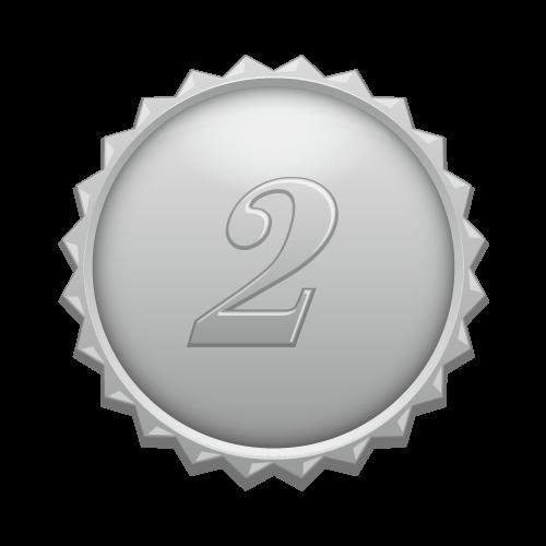 2の数字の入ったギザギザのシルバーカラーメダル(medalbadge).png