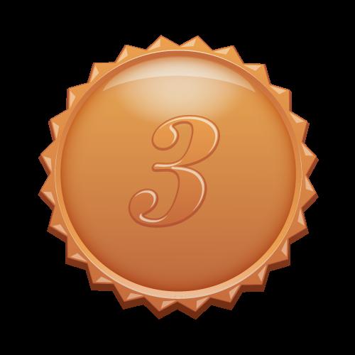 3の数字の入ったギザギザのブロンズカラーメダル(medalbadge).png